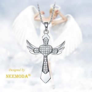 Angel Wings Cross Necklace Hand-Inlaid